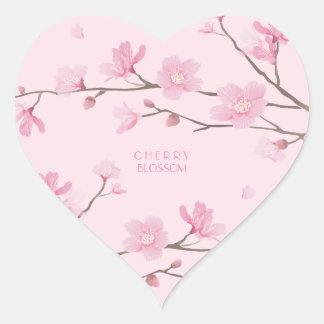 Cherry Blossom - Transparent-Background Heart Sticker