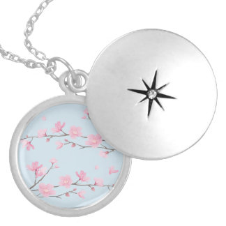 Cherry Blossom - Transparent-Background Locket Necklace