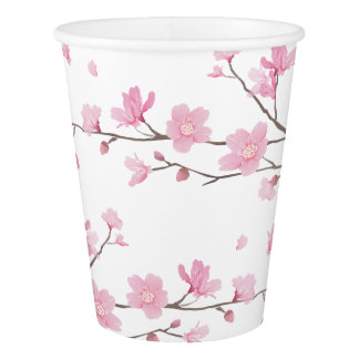 Cherry Blossom - Transparent Background Paper Cup
