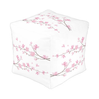 Cherry Blossom - Transparent Background Pouf