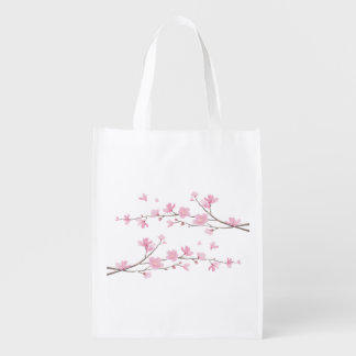 Cherry Blossom - Transparent Background Reusable Grocery Bag