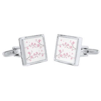 Cherry Blossom - Transparent Background Silver Finish Cufflinks