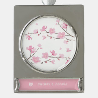 Cherry Blossom - Transparent Background Silver Plated Banner Ornament