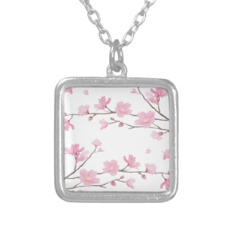 Cherry Blossom - Transparent-Background Silver Plated Necklace