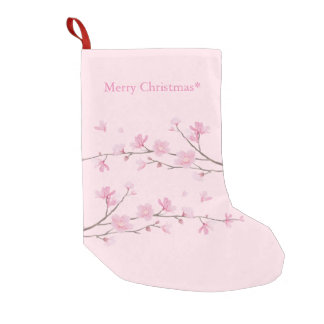 Cherry Blossom - Transparent Background Small Christmas Stocking