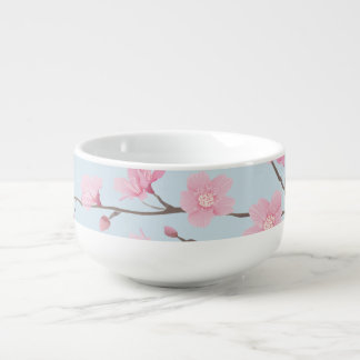 Cherry Blossom - Transparent Background Soup Bowl With Handle