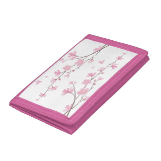 Cherry Blossom - Transparent Background Trifold Wallets