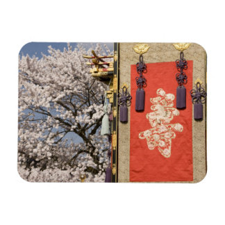 Cherry blossom tree and silk tapestry of rectangular photo magnet