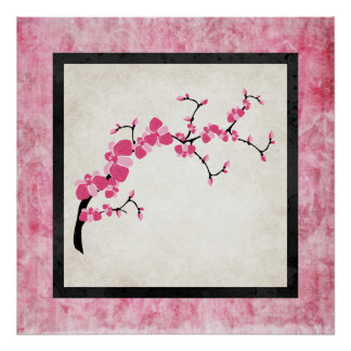 Cherry Blossom Tree Branch Poster Design 4