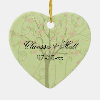 Cherry Blossom Tree Custom Heart Keepsake Ornament