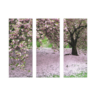 cherry blossom tree three panel wrapped canvas gallery wrap canvas