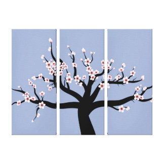 Cherry Blossom Vector Art Triptych Stretched Canvas Print