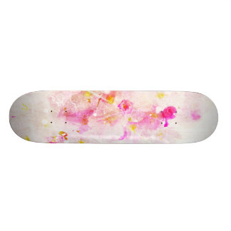 cherry blossom vintage romance abstract - white skateboard