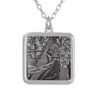 Cherry Blossom Warrior by Carter L Shepard Silver Plated Necklace