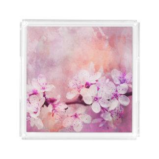 Cherry Blossom Watercolor Art Acrylic Tray