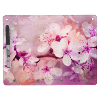 Cherry Blossom Watercolor Art Dry Erase Board With Key Ring Holder