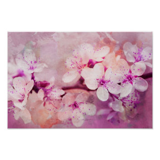 Cherry Blossom Watercolor Art Poster