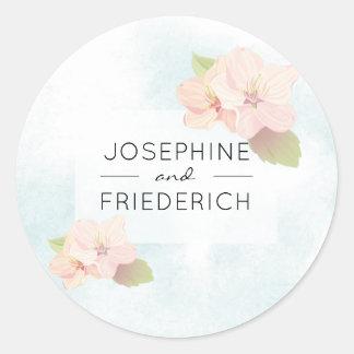 Cherry Blossom Watercolor Wedding Round Sticker
