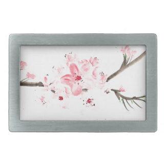 Cherry blossom watercolour rectangular belt buckles