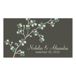 Cherry Blossom Wedding Business Card dark (sage)