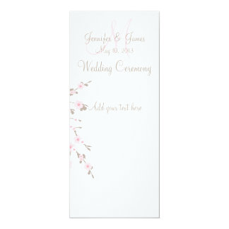 Cherry Blossom Wedding Church Program Cards 10 Cm X 24 Cm Invitation Card