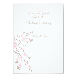 Cherry Blossom Wedding Church Programs 11 Cm X 16 Cm Invitation Card