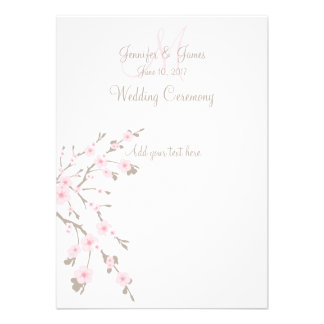 Cherry Blossom Wedding Church Programs Invites