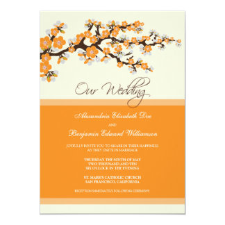 Cherry Blossom Wedding Invitation (orange)