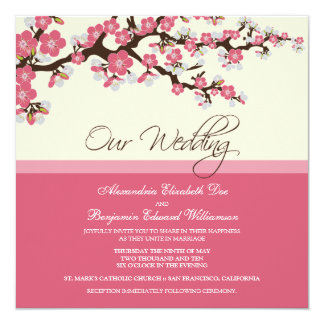 Cherry Blossom Wedding Invitation (pink)