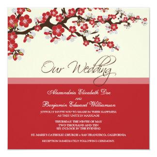 Cherry Blossom Wedding Invitation (red)
