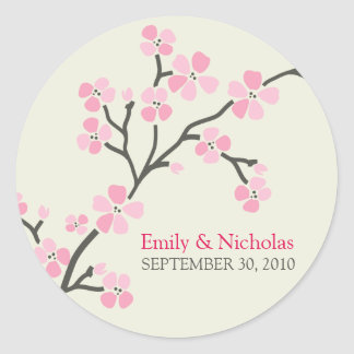 Cherry Blossom Wedding Invitation Seal 2 (pink) Round Sticker