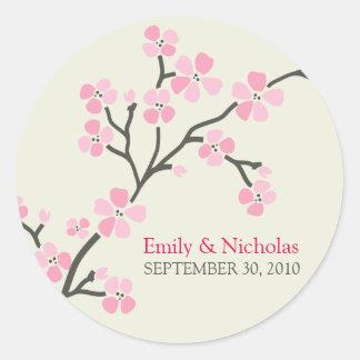 Cherry Blossom Wedding Invitation Seal 2 (pink) Round Sticker