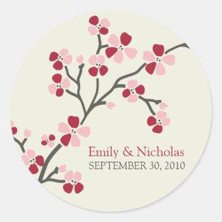 Cherry Blossom Wedding Invitation Seal 2 (red) Round Sticker