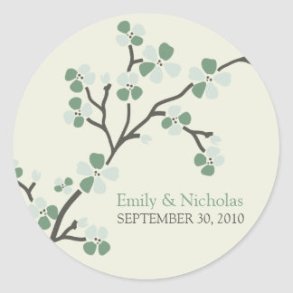 Cherry Blossom Wedding Invitation Seal 2 sage Round Stickers