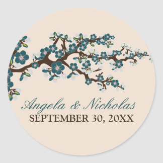 Cherry Blossom Wedding Invitation Seal (blue) Round Sticker