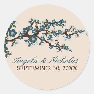Cherry Blossom Wedding Invitation Seal (blue) Round Sticker