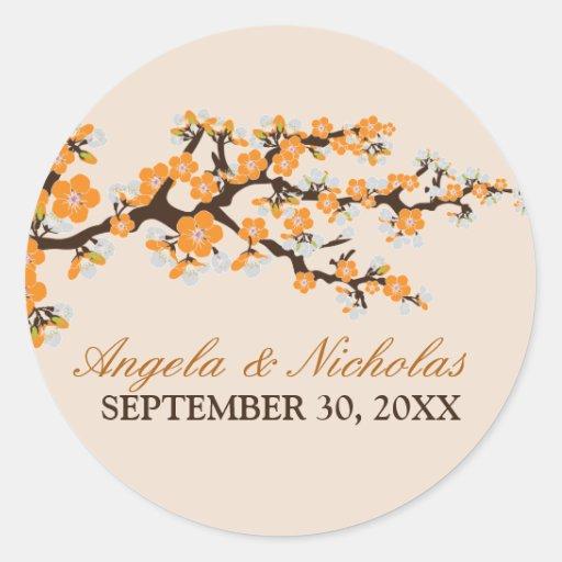 Cherry Blossom Wedding Invitation Seal (orange) Round Sticker