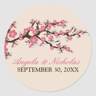 Cherry Blossom Wedding Invitation Seal (pink) Round Sticker