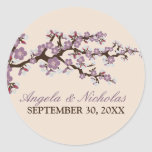 Cherry Blossom Wedding Invitation Seal (purple) Round Sticker