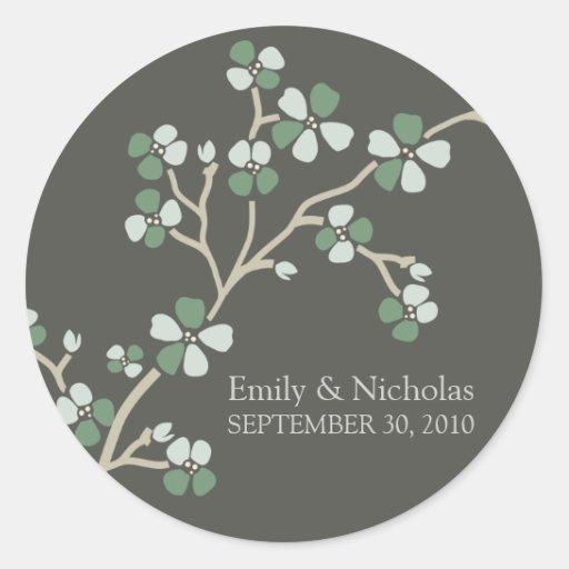 Cherry Blossom Wedding Invitation Seal (sage) Round Sticker