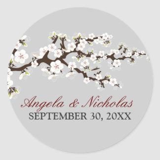 Cherry Blossom Wedding Invitation Seal (silver)