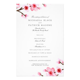Cherry Blossom Wedding Programs Flyer