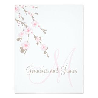 Cherry Blossom Wedding RSVP Cards Monogram 11 Cm X 14 Cm Invitation Card