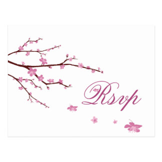 Cherry Blossom Wedding RSVP Postcards
