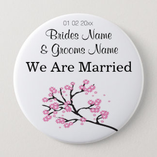 Cherry Blossom Wedding Souvenirs Gifts Giveaways 10 Cm Round Badge
