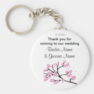 Cherry Blossom Wedding Souvenirs Gifts Giveaways Basic Round Button Key Ring