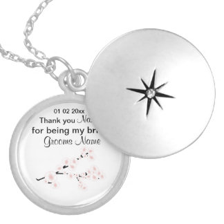 Cherry Blossom Wedding Souvenirs Gifts Giveaways Locket Necklace