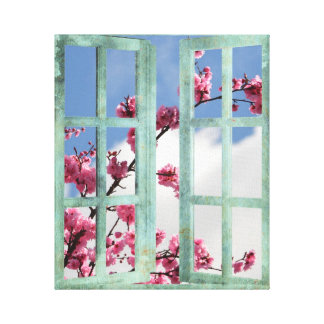 Cherry Blossom Window Scene Stretched Canvas Prints