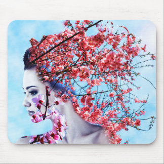 Cherry Blossom Woman Mouse Pad