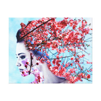 Cherry Blossom Woman Stretched Canvas Prints